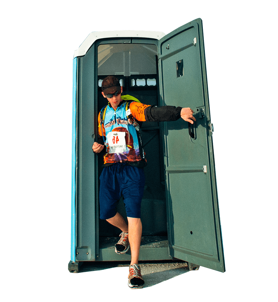 man leaving porta-potty